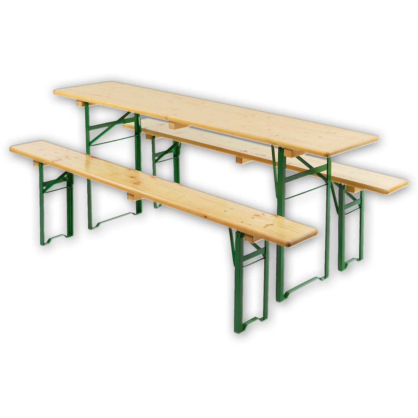 -3-tlg. mit 2 Bänken(L 220 cm, T 25 cm, H 49 cm) und 1 Tisch(L 220 cm, B 50cm, H 76cm) – Sitzhöhe: 49cm