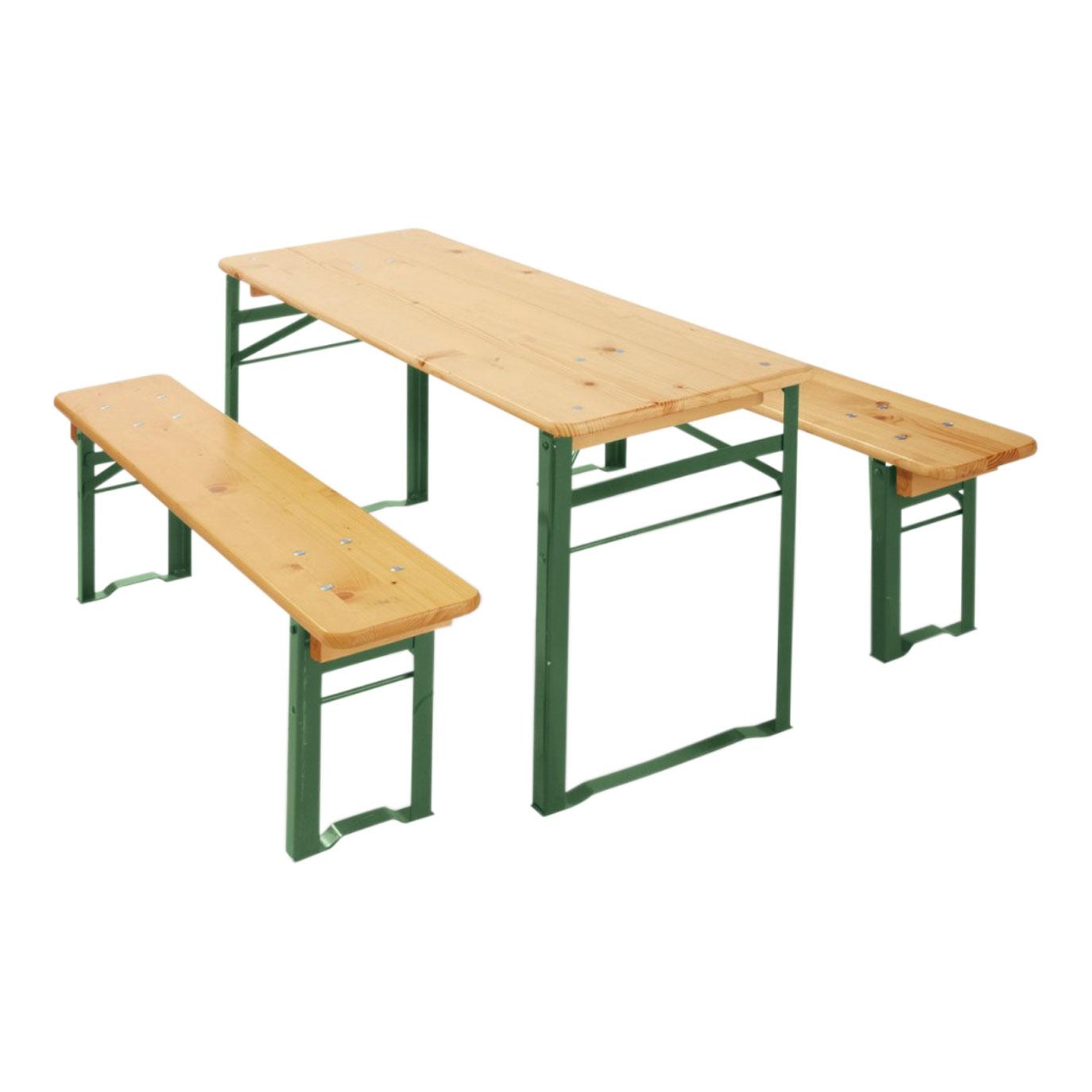 -3-tlg. mit 2 Bänken(L 110 cm, T 20 cm, H 31 cm) und 1 Tisch(L 110 cm, B 50 cm, H 76 cm) – Sitzhöhe: 31 cm