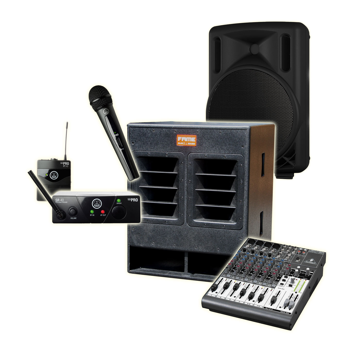 professionelle Tonanlage mit Funkmikrophon